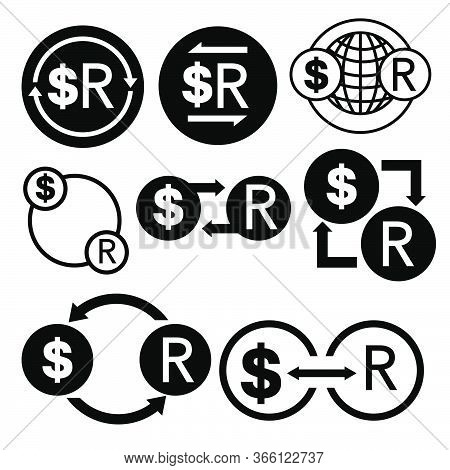 Black And White Money Convert Icon From Dollar To Rand Vector Bundle Set