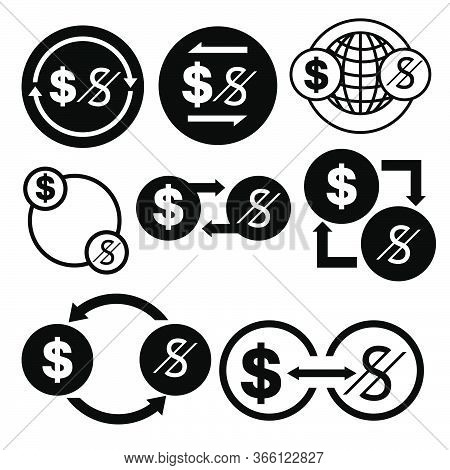 Black And White Money Convert Icon From Dollar To Sum Vector Bundle Set