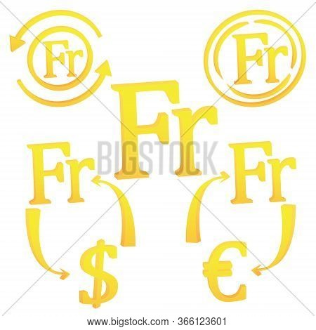 3d Swiss Frank Switzerland Symbol Currency Set Unit Icon Vector Illustration On A White Background