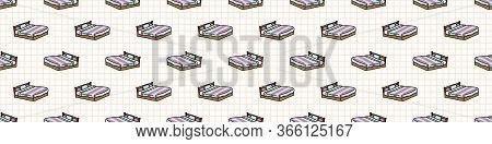 Hand Drawn Cute Striped Bed Seamless Vector Border. Adorable Bedding For Relaxing Sleep Night Time B