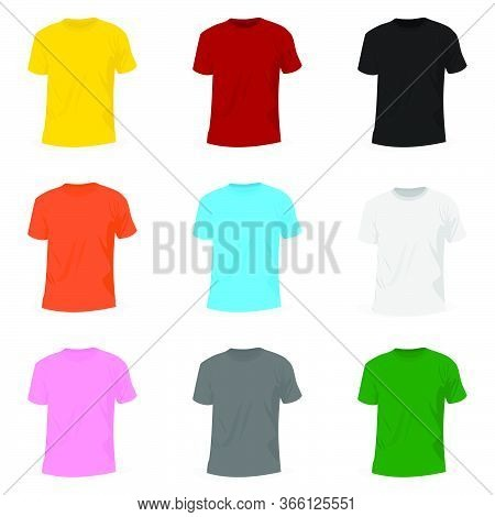 Set Object Of T-shirt Mockup Design. Good For T-shirt Template Or T-shirt Mockup Design.