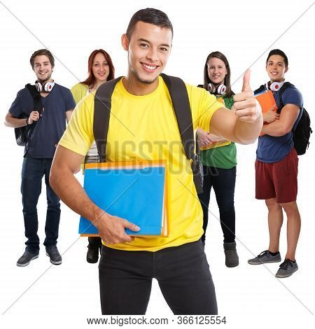 Group Of Students Success Successful Thumbs Up Smiling Square People Isolated On White