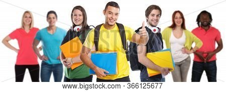 Group Of Students College Student Young People Success Successful Thumbs Up Education Isolated On Wh