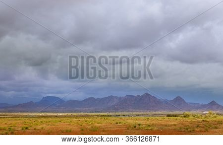 Desert West Texas Scenic Over In The Southwestern Desert And Mountains Usa