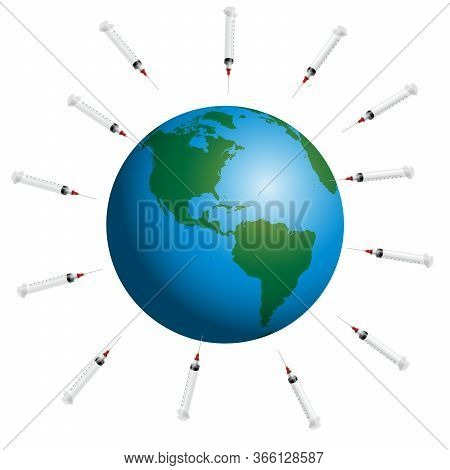 Syringes Around Planet Earth. Symbol For Mass Vaccination And Global Immunization Campaign Of Big Ph