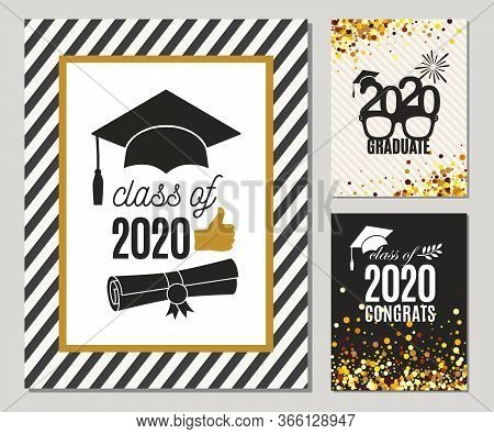 Graduation Class Of 2020 Three Greeting Cards Set In Gold Colors. Vector Grad Party Invitations. Gra