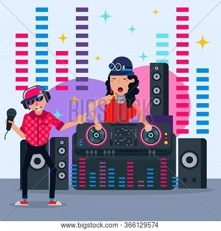 Dj Party, Leading Disco Plays Modern Club Music, Poster With Colorful Club Information, Design, Cart