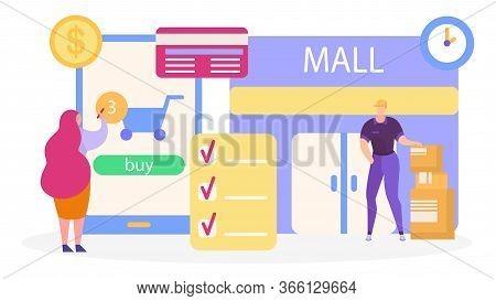 Onlain Trade, Shopping For Business, Profitable E-commerce Using Internet Technology, Design, Cartoo
