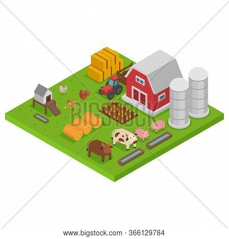 Farm With Animals, Colorful Isometry, Isometric Agriculture Concept, Natural Habitat, Design, Cartoo