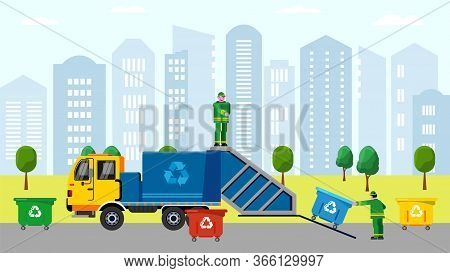 Scavengers Bunkering Trash In Dustbin On Truck In Urban Service Character Sorting Vector Scavenging