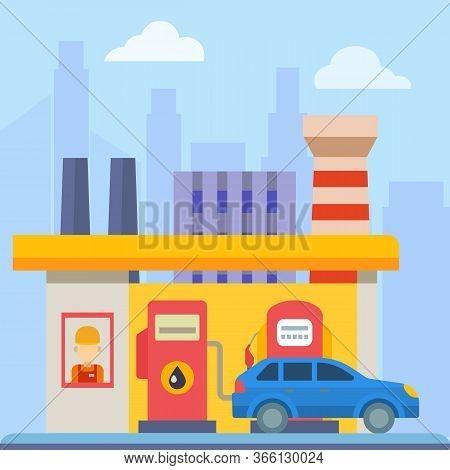 Service Transport Gas Automobile Station On Energy Industry Machine Flavoring Gasoline Cartoon Illus