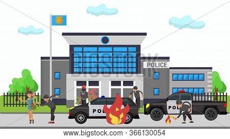 Criminal Man In Mask Set Fire Policeman Cars Near Police Station On Vector Cartoon Person Criminal I