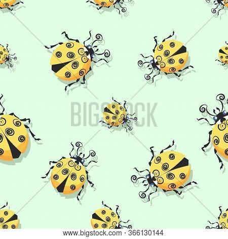 Ladybug, Ladybird. Pattern. Vector Cartoon Character. Cute Yellow Ladybugs On A Light Green Backgrou