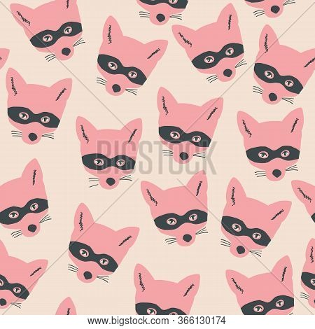 Seamless Bandit Fox Pattern. Stylish Repeating Texture. Repeating Texture With Fox Heads. Pink And B