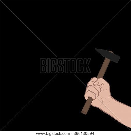 Hand With Hammer At Night, Symbolic For Housebreaking, Threat, Raid, Robbery, Danger. Comic Vector I