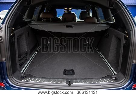 Family Car Empty Car Boot With Luggage Space Available. Empty Car Boot Car Trunk With Boot Lid Open