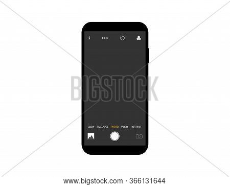 Mockup Of Camera Interface On Smartphone. Template Of Video And Photo Screen With Settings On Mobile