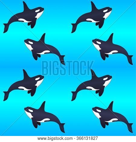 Killer Whales On A Blue Gradient Background - Vector Seamless Marine Pattern. Swimming Orca Seamless