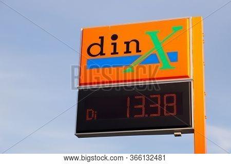 Gnesta, Sweden - May 8, 2020: The Swedish Din-x Gasoline Brand Sign At The Self Service Station..