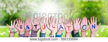 Children Hands Building Word Gratulation Means Congratulations, Grass Meadow