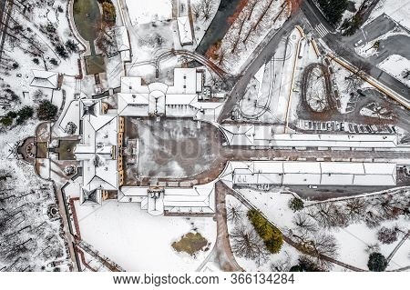 Aeril Overhead View Of Schloss Hellbrunn Covered In Snow With View Of Untersberg Near Salzburg Outsk