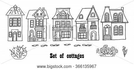 Many Different Houses, Detached, Single-family Houses With Gardens. Hand Drawn Vector Illustration O