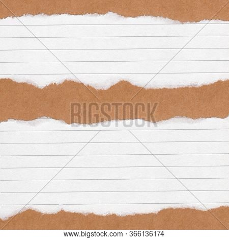 Closeup Torn Lined Paper On Grunge Brown Paper Texture Background. Rip Paper Note ,brown Paper Sheet