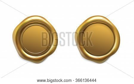 Golden Wax Seal Set. Gold Realistic Medieval Stamp Vector