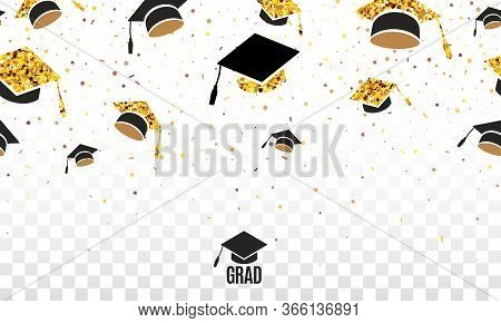 Grad Class Of 2020 Border With Golden Hats Thrown Up On The Air On Checkered Transparent Background.