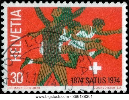 Saint Petersburg, Russia - May 05, 2020: Stamp Printed In The Switzerland With The Image Of The Rhyt