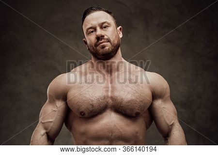 Athletic Bodybuilder Without Shirt Posing With Naked Torso, Looking Authoritative At The Camera In A