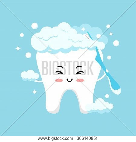 Cute Tooth Emoji In Foam Brushing Himself With Toothbrush. Flat Design Cartoon Kawaii Style Happy Sm