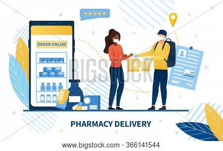 Online Pharmacy Delivery Service With A Deliveryman In A Mask Handing Over Packages To A Young Woman