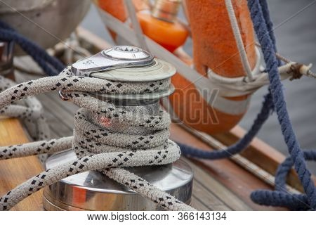 Sailboat Winch And Rope Yacht Detail. Nautical Part Of A Yacht With Cords, Rigging, Sail, Mast, Anch