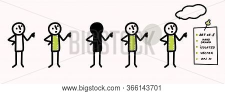 Hand Drawn Stick Figure Pondering Pose. Concept Of Lecture, Explanation Or Talk. Simple Vector Stick