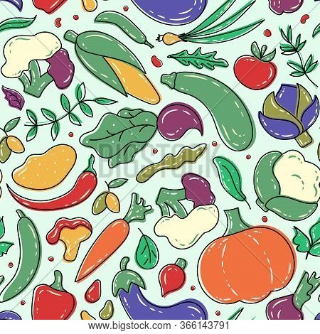 Vegetables Seamless Pattern. Healthy Food Background. Farm Fresh, Organic, Eco Vegetables. Vegetaria