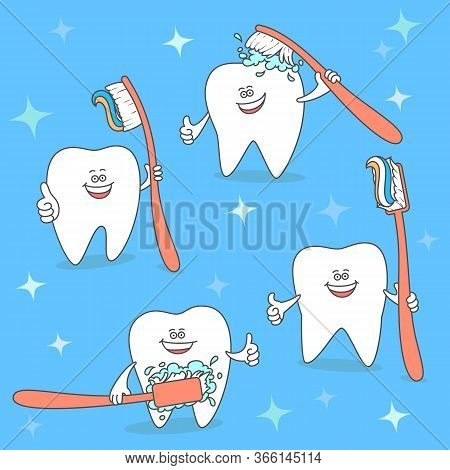 Cartoon Tooth With A Toothbrush. Set Of Teeth Keeping A Brush. Dentistry Illustration. Dental Care A
