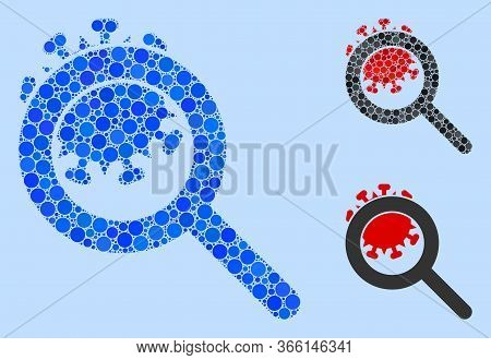 Collage Explore Coronavirus Icon Composed Of Round Items In Variable Sizes, Positions And Proportion