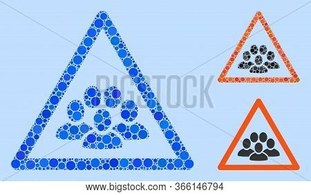 Collage People Crowd Warning Icon Composed Of Round Items In Various Sizes, Positions And Proportion