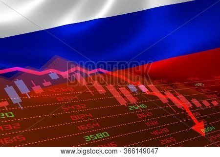 3d Rendering Of Russia Economic Downturn With Stock Exchange Market Showing Stock Chart Down And In