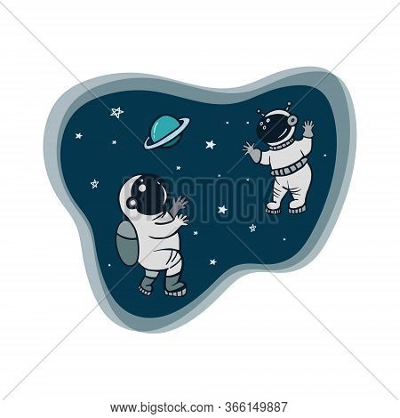 Space. Astronauts. Vector Color Illustration Of Astronauts In Space. Cartoon Style Drawing.