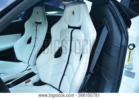 Taguig, Ph - July 13 - Ferrari Supercar Seats On July 13, 2019 In Bonifacio Global City, Taguig, Phi