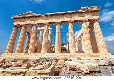 Parthenon On Acropolis, Athens, Greece, It Is Main Tourist Attraction Of Athens. Ancient Greek Archi
