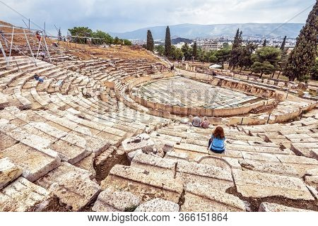 Theatre Of Dionysus At Foot Of Acropolis, Athens, Greece, It Is Famous Tourist Attraction In Athens,