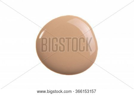 Makeup Foundation, Tone Cream Smear Smudge Swatch Isolated On White Background. Nude Cosmetic Bb Cre