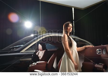 Taguig, Ph - July 13 - Rolls Royce Female Model At Rolls Royce Car Showroom On July 13, 2019 In Boni