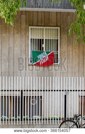 Milan, Italy - May 8, 2020: Italian Flag On House With Inscription Forza Italia During The Emergency