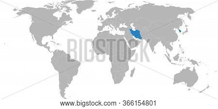 Iran, South Korea Countries Isolated On World Map. Light Gray Background. Business Concepts, Diploma