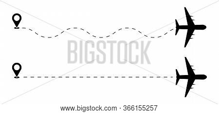 Path Flight Travel Plane Trip And Fly Silhouette, Fly Air Aircraft Travelling Symbol Vector Illustra