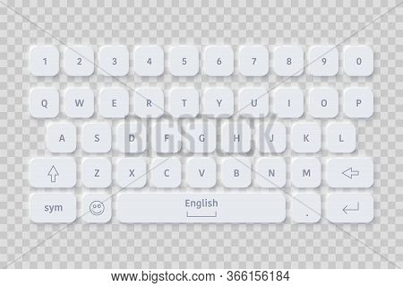 Vector Editable Neomorphic English Computer Keyboard . Minimalistic Realistic White Keyboard. Simple